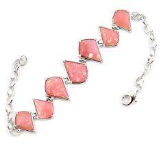 Natural pink opal fancy 925 sterling silver bracelet jewelry a59362