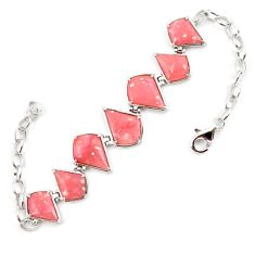 Natural pink opal fancy 925 sterling silver 14k gold bracelet jewelry a59363