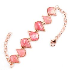 Natural pink opal fancy 925 sterling silver 14k rose gold bracelet a59365