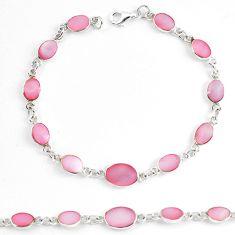 Pink pearl enamel 925 sterling silver tennis bracelet jewelry a60630