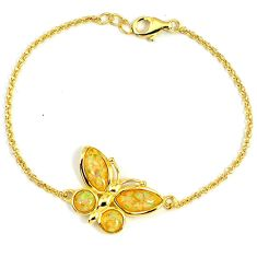 2.83cts australian opal (lab) 925 sterling silver 14k gold bracelet a61987
