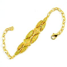 4.94cts australian opal (lab) 925 sterling silver 14k gold bracelet a61990