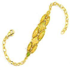 4.91cts australian opal (lab) 925 sterling silver 14k gold bracelet a61992