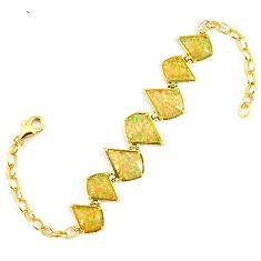 7.98cts australian opal (lab) 925 sterling silver 14k gold bracelet a61996