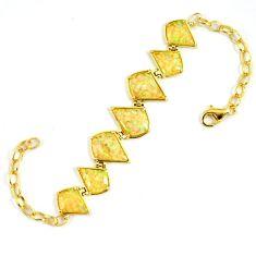 7.82cts australian opal (lab) 925 sterling silver 14k gold bracelet a62000