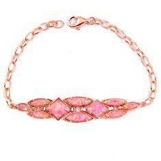 Pink australian opal (lab) 925 sterling silver 14k rose gold bracelet a62007