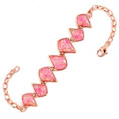 Pink australian opal (lab) 925 sterling silver 14k rose gold bracelet a62008