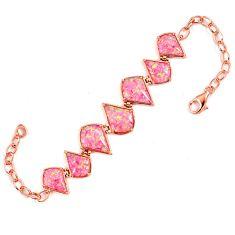 Pink australian opal (lab) 925 sterling silver 14k rose gold bracelet a62010