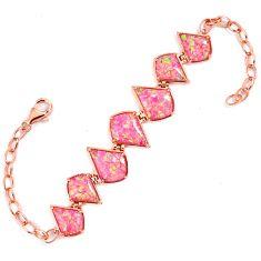 Pink australian opal (lab) 925 sterling silver 14k rose gold bracelet a62011