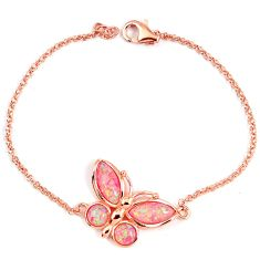 Pink australian opal (lab) 925 sterling silver 14k rose gold bracelet a62015
