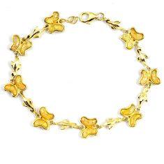 6.74cts white australian opal (lab) 925 sterling silver 14k gold bracelet a62028