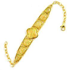 15.48cts white australian opal (lab) 925 silver 14k gold bracelet a62037