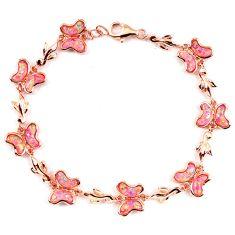 10.95cts pink australian opal (lab) 925 sterling silver 14k gold bracelet a62041