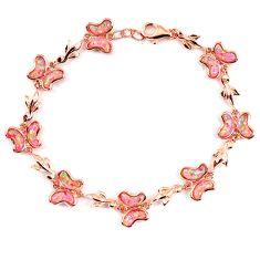 11.07cts pink australian opal (lab) 925 sterling silver 14k gold bracelet a62044