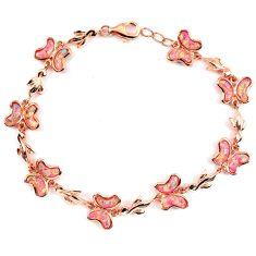 10.95cts pink australian opal (lab) 925 sterling silver 14k gold bracelet a62045