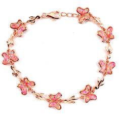 10.95cts pink australian opal (lab) 925 sterling silver 14k gold bracelet a62046