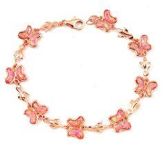 12.48cts pink australian opal (lab) 925 sterling silver 14k gold bracelet a62061