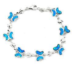 10.31cts blue australian opal (lab) 925 sterling silver bracelet jewelry a62063