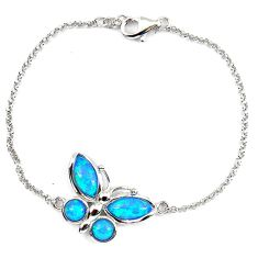 5.07cts blue australian opal (lab) 925 sterling silver bracelet jewelry a62087
