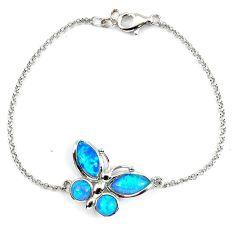 5.06cts blue australian opal (lab) 925 sterling silver bracelet jewelry a62089
