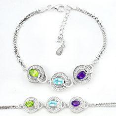 925 sterling silver natural blue topaz peridot tennis bracelet jewelry a62464