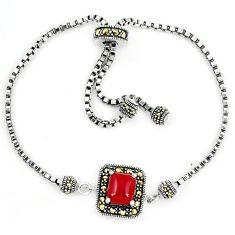 925 sterling silver natural honey onyx marcasite adjustable bracelet a64964