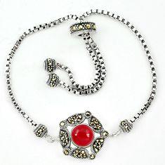 Natural honey onyx marcasite 925 sterling silver adjustable bracelet a64985
