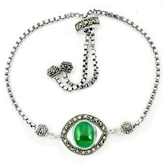 Natural green chalcedony marcasite 925 silver adjustable bracelet a64992