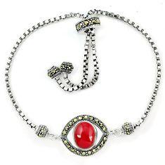 Natural honey onyx marcasite 925 sterling silver adjustable bracelet a64995