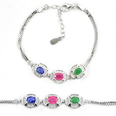 Natural blue sapphire ruby 925 sterling silver tennis bracelet jewelry a74452