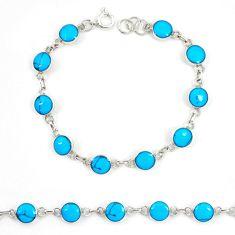 Fine blue turquoise enamel 925 sterling silver tennis bracelet jewelry a74465