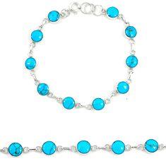 Fine blue turquoise enamel 925 sterling silver tennis bracelet jewelry a74474