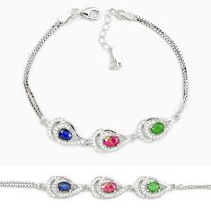 Natural red ruby emerald 925 sterling silver tennis bracelet jewelry a74483