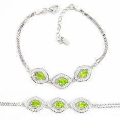 Natural green peridot topaz 925 sterling silver tennis bracelet jewelry a74486