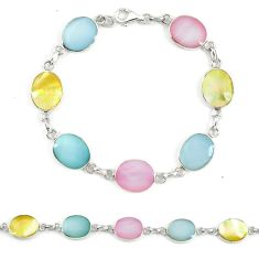 Multi color blister pearl enamel 925 sterling silver tennis bracelet a74493