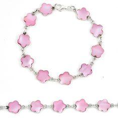 Pink pearl enamel 925 sterling silver tennis bracelet jewelry a74495