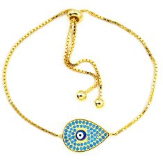 Blue evil eye talismans turquoise 925 silver 14k gold bracelet jewelry a74507
