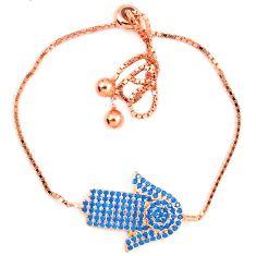 Fine blue turquoise 925 sterling silver 14k rose gold bracelet jewelry a74510