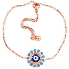 Blue evil eye talismans turquoise 925 silver 14k rose gold bracelet a74520