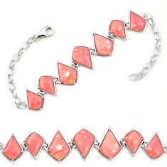 Natural pink opal 925 sterling silver bracelet jewelry a76010