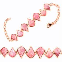 Natural pink opal 925 sterling silver 14k gold bracelet jewelry a76012