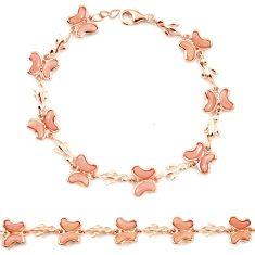 Natural pink opal 925 sterling silver 14k rose gold butterfly bracelet a76022