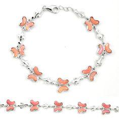 Natural pink opal fancy 925 sterling silver butterfly bracelet jewelry a76023