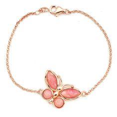 Natural pink opal 925 sterling silver 14k rose gold butterfly bracelet a76038