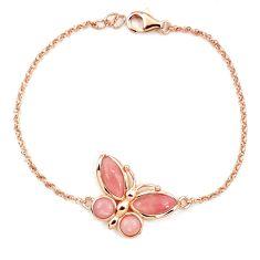 925 sterling silver natural pink opal 14k rose gold butterfly bracelet a76039