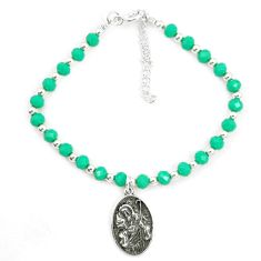 Natural green chalcedony 925 sterling silver tennis bracelet jewelry a78181