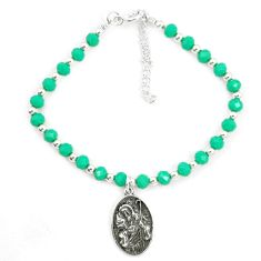 Natural green chalcedony 925 sterling silver tennis bracelet jewelry a78182