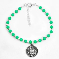 Natural green chalcedony 925 sterling silver tennis bracelet jewelry a78191
