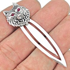 Vintage style fox red ruby quartz 925 sterling silver bookmarks jewelry a82451