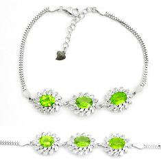 12.72cts natural green peridot topaz 925 sterling silver tennis bracelet a87764